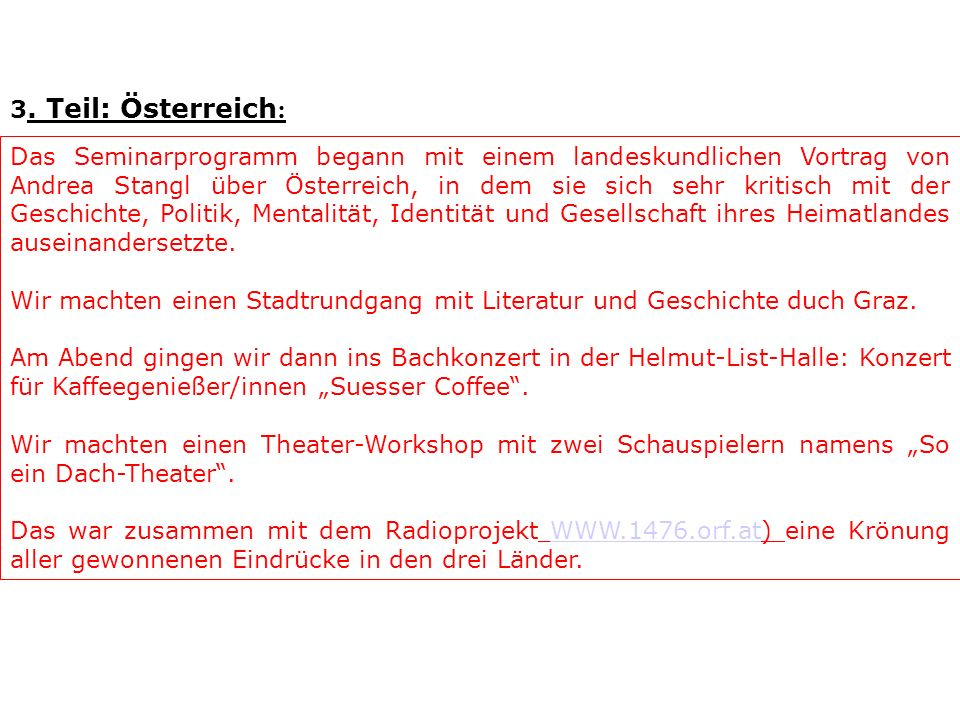 3. Teil: Österreich: