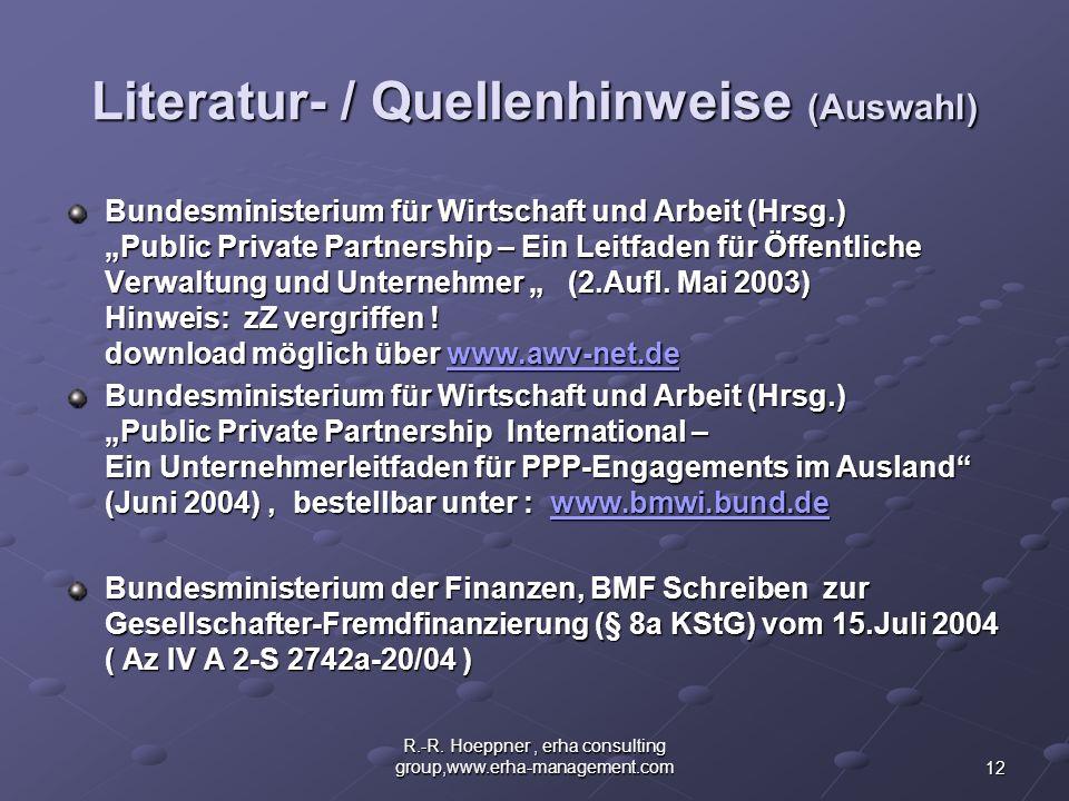Literatur- / Quellenhinweise (Auswahl)