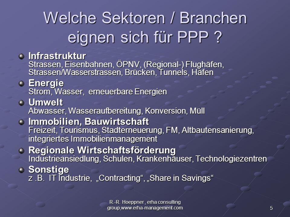 Welche Sektoren / Branchen eignen sich für PPP