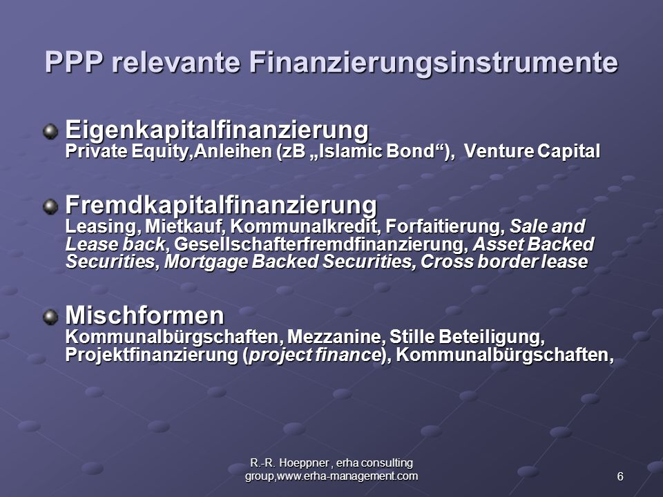 PPP relevante Finanzierungsinstrumente