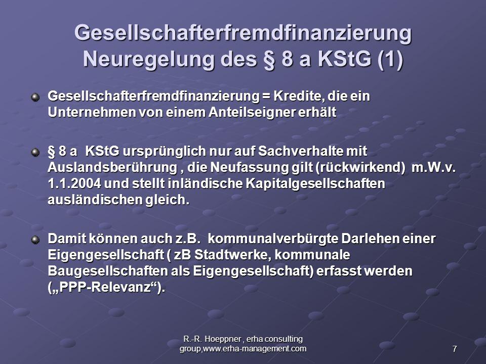 Gesellschafterfremdfinanzierung Neuregelung des § 8 a KStG (1)