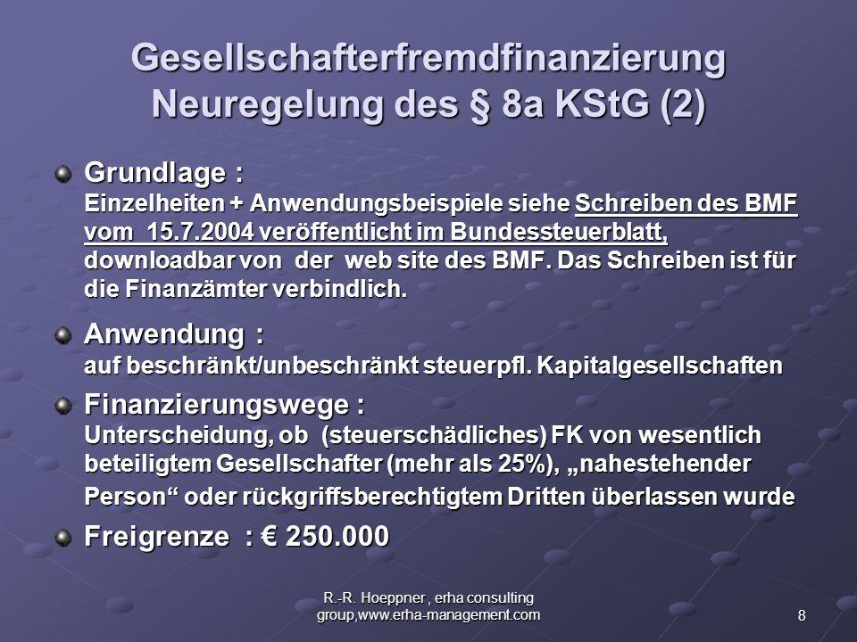 Gesellschafterfremdfinanzierung Neuregelung des § 8a KStG (2)