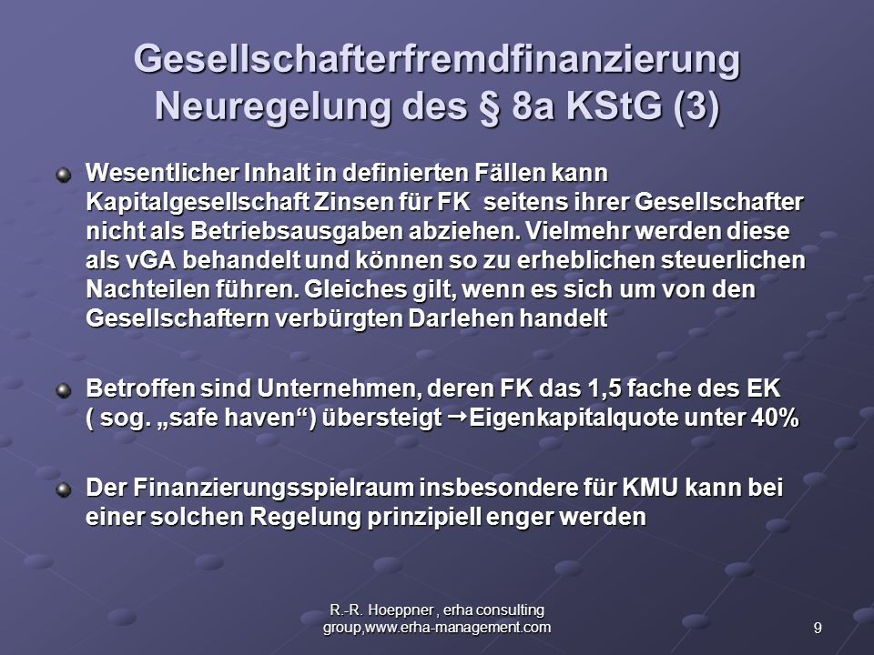 Gesellschafterfremdfinanzierung Neuregelung des § 8a KStG (3)