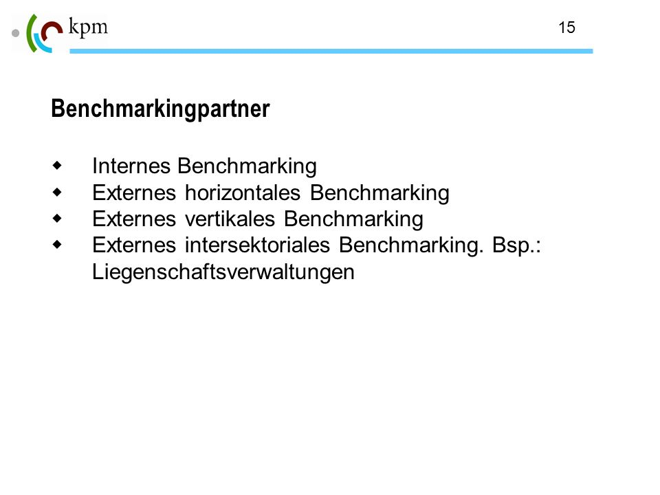 Benchmarkingpartner Internes Benchmarking