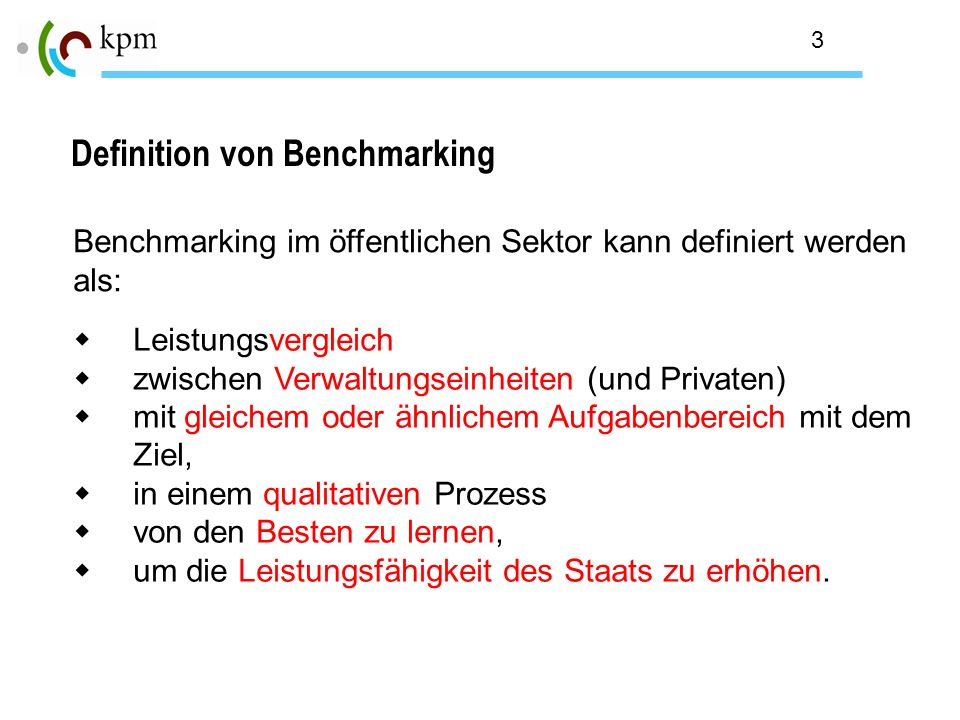 Definition von Benchmarking