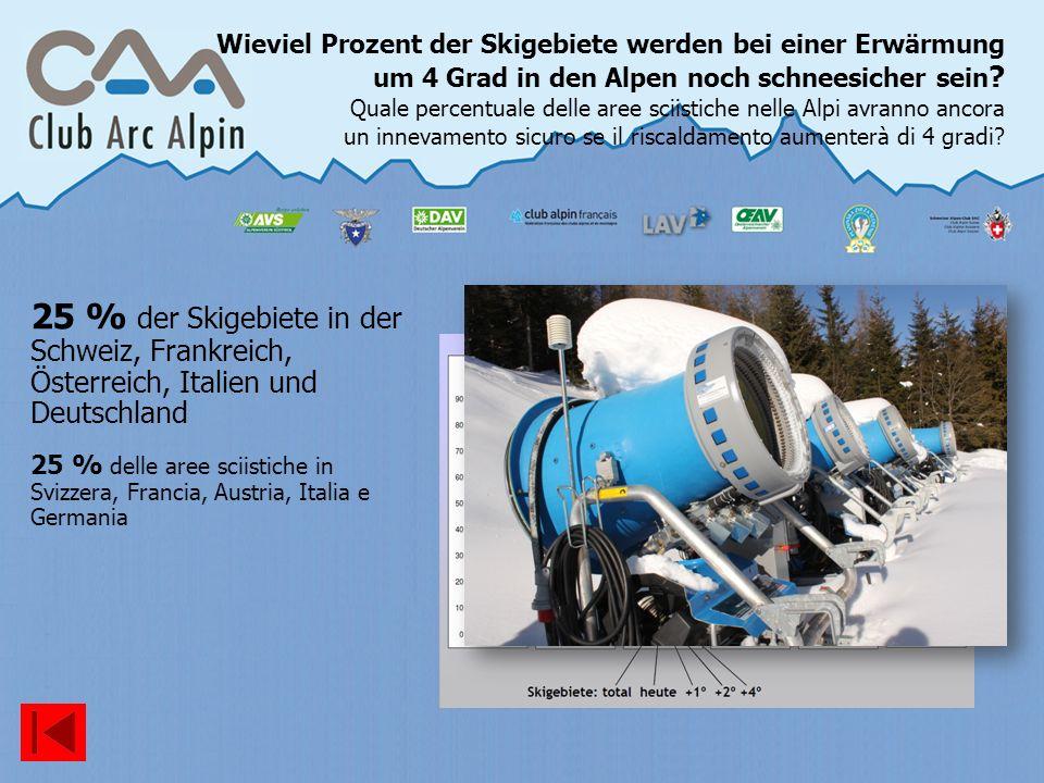 Wieviel Prozent der Skigebiete werden bei einer Erwärmung um 4 Grad in den Alpen noch schneesicher sein Quale percentuale delle aree sciistiche nelle Alpi avranno ancora un innevamento sicuro se il riscaldamento aumenterà di 4 gradi