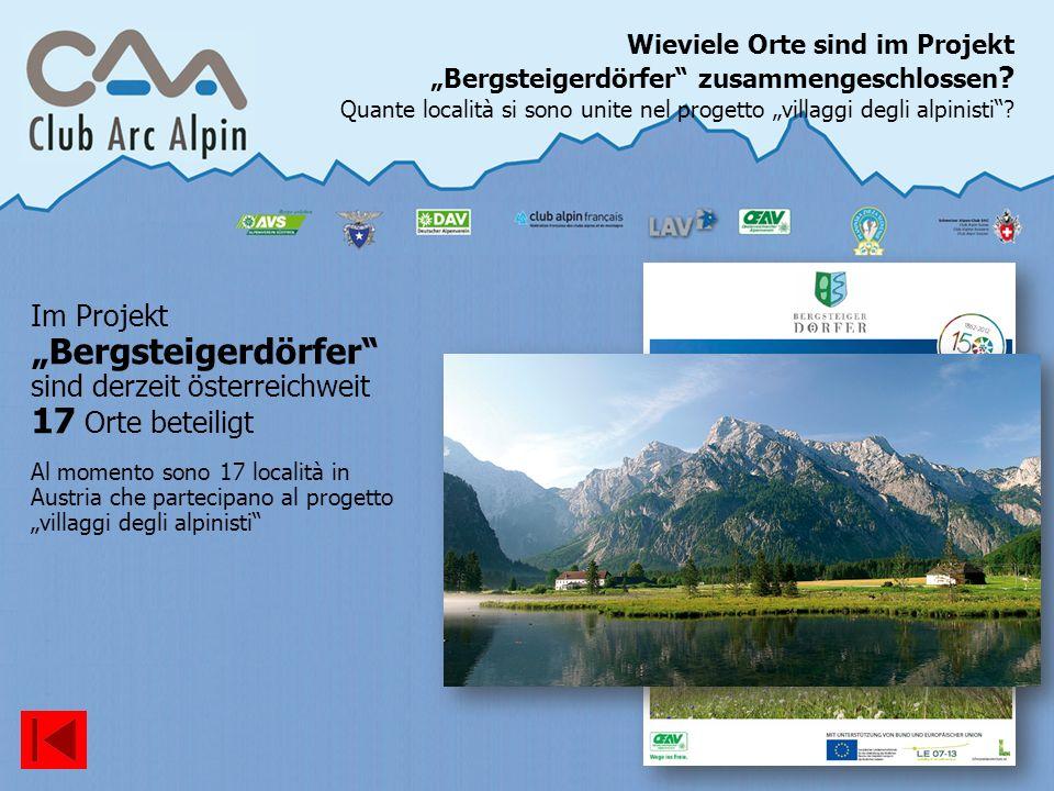 """Wieviele Orte sind im Projekt """"Bergsteigerdörfer zusammengeschlossen"""