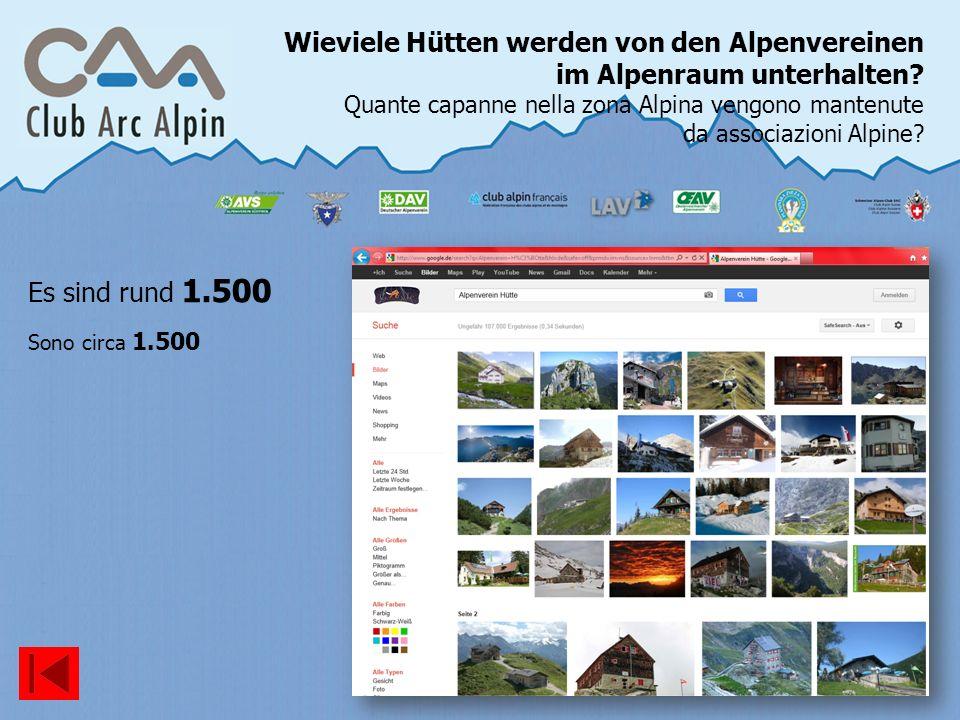 Wieviele Hütten werden von den Alpenvereinen im Alpenraum unterhalten