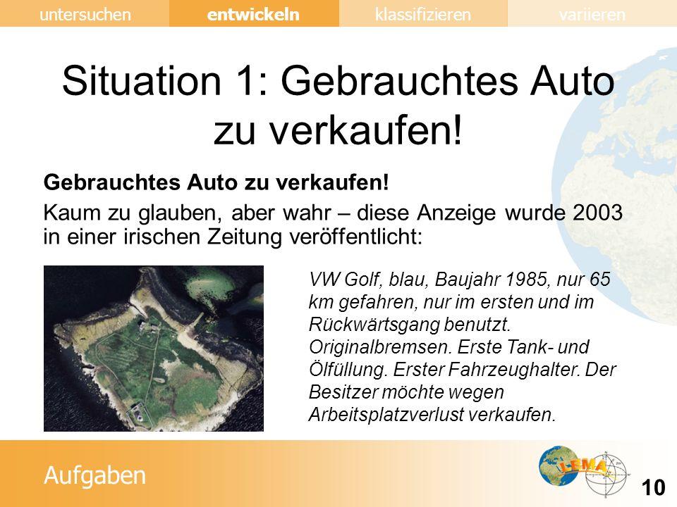 Situation 1: Gebrauchtes Auto zu verkaufen!