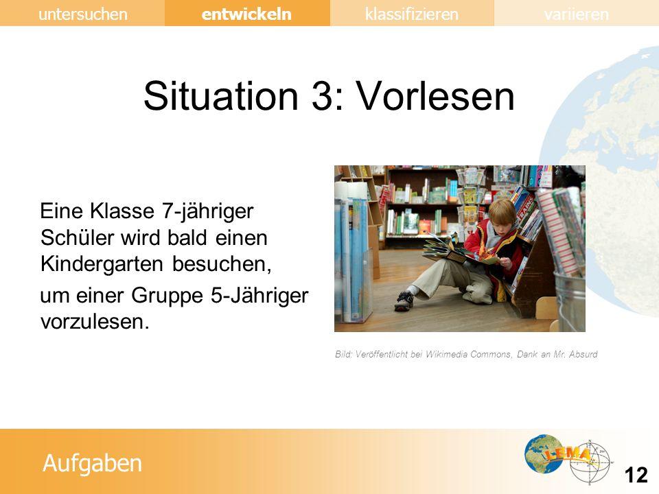 Situation 3: Vorlesen Eine Klasse 7-jähriger Schüler wird bald einen Kindergarten besuchen, um einer Gruppe 5-Jähriger vorzulesen.