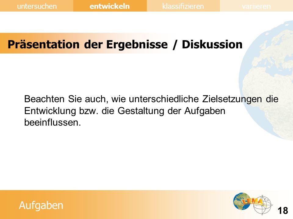 Präsentation der Ergebnisse / Diskussion