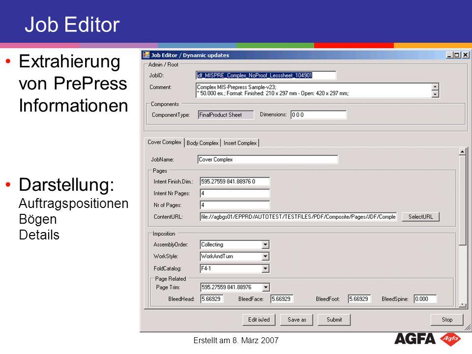 Job Editor Extrahierung von PrePress Informationen