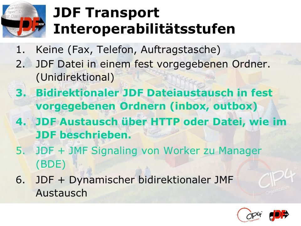 JDF Transport Interoperabilitätsstufen