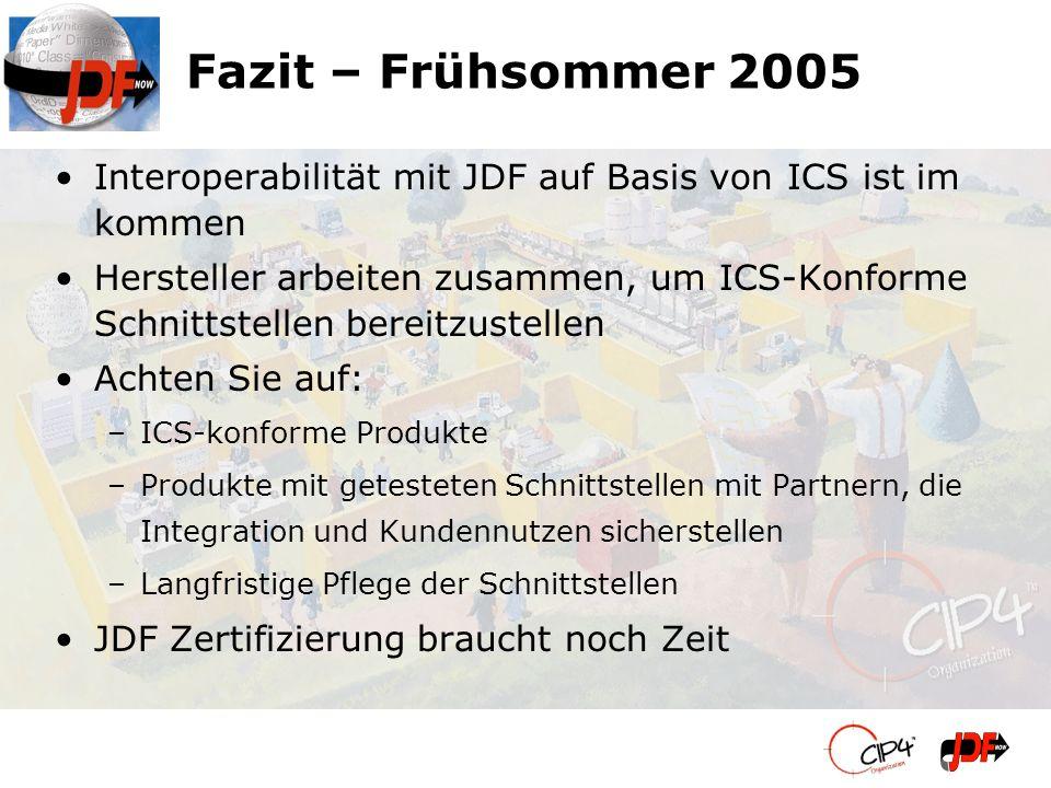 Fazit – Frühsommer 2005 Interoperabilität mit JDF auf Basis von ICS ist im kommen.