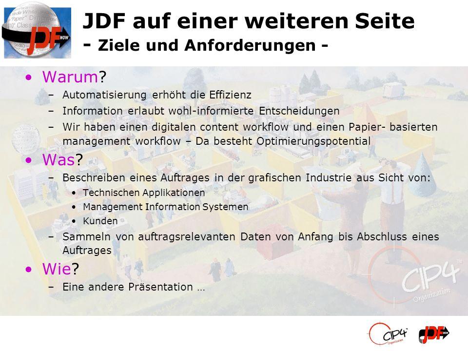JDF auf einer weiteren Seite - Ziele und Anforderungen -