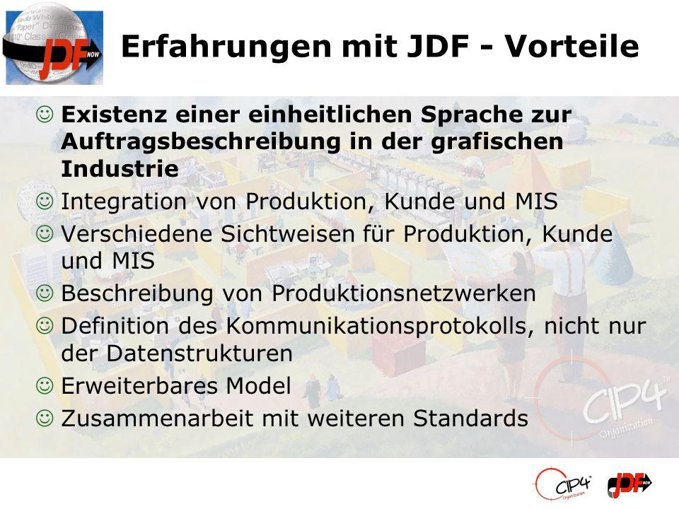 Erfahrungen mit JDF - Vorteile