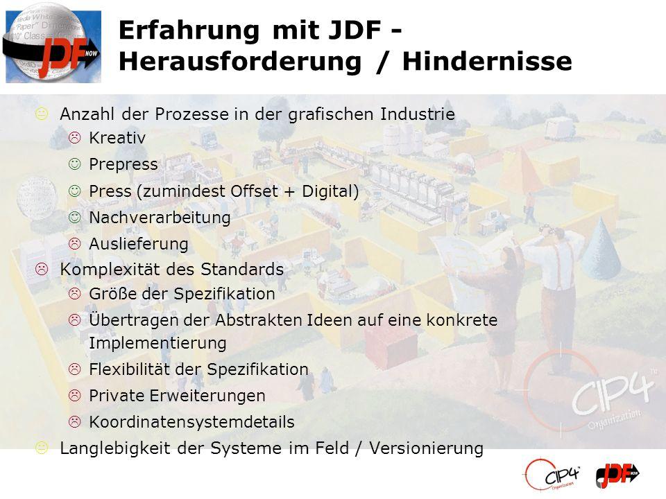 Erfahrung mit JDF - Herausforderung / Hindernisse