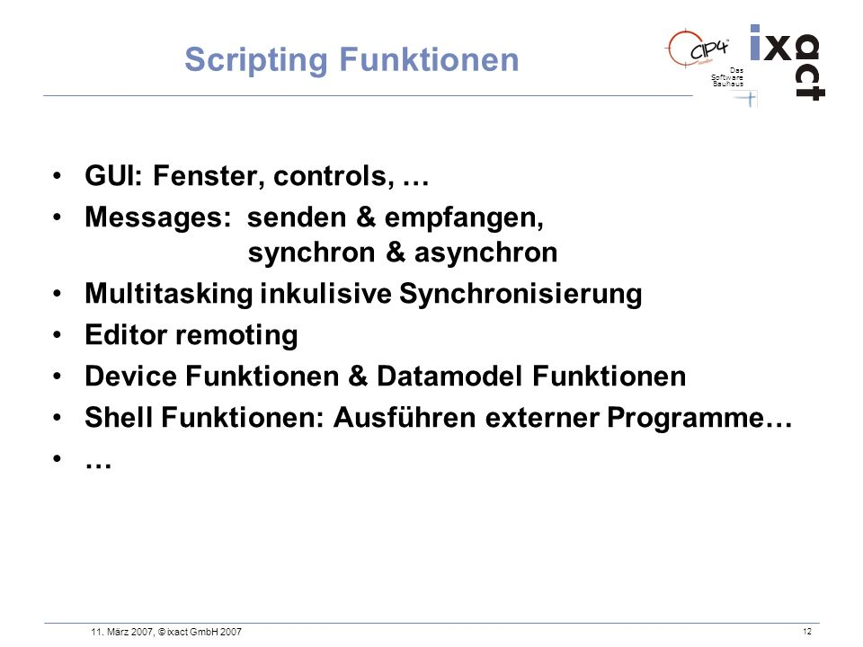 Scripting Funktionen GUI: Fenster, controls, …