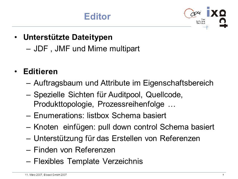 Editor Unterstützte Dateitypen JDF , JMF und Mime multipart Editieren