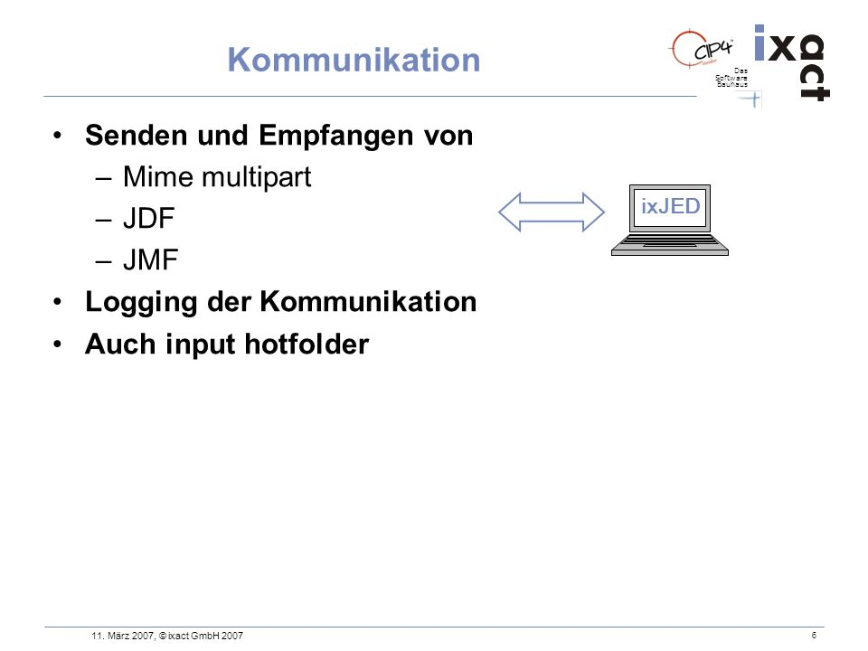 Kommunikation Senden und Empfangen von Mime multipart JDF JMF