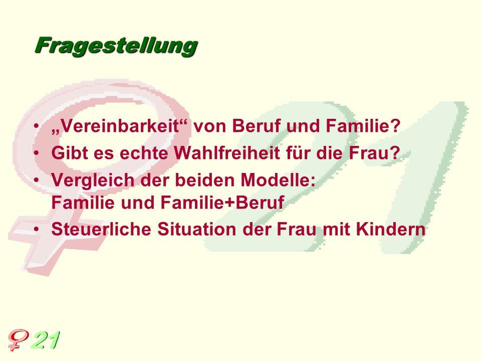 """Fragestellung """"Vereinbarkeit von Beruf und Familie"""