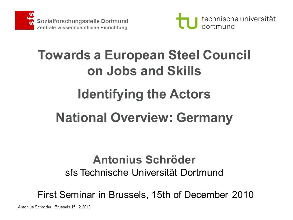 First Seminar in Brussels, 15th of December 2010
