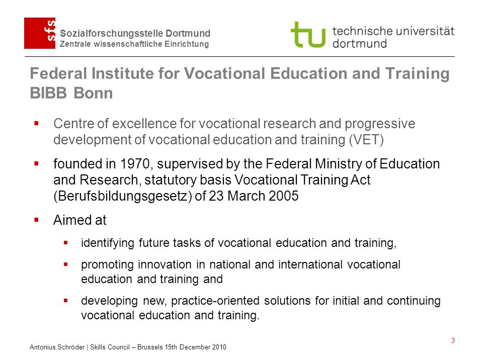 Federal Institute for Vocational Education and Training BIBB Bonn
