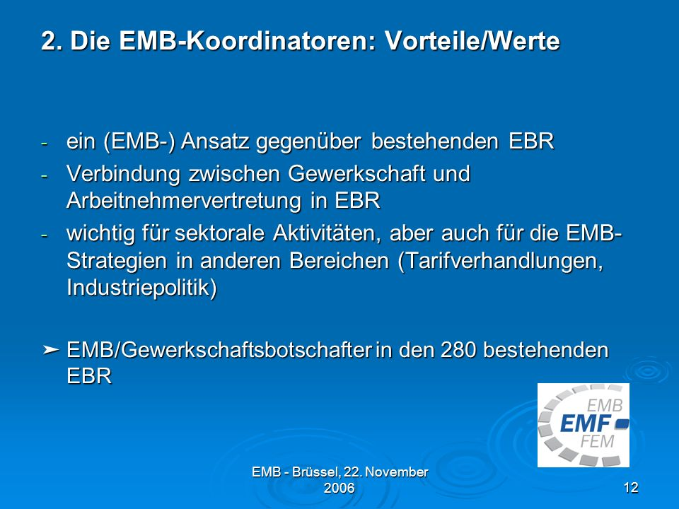 2. Die EMB-Koordinatoren: Vorteile/Werte
