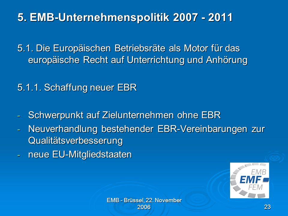 5. EMB-Unternehmenspolitik 2007 - 2011