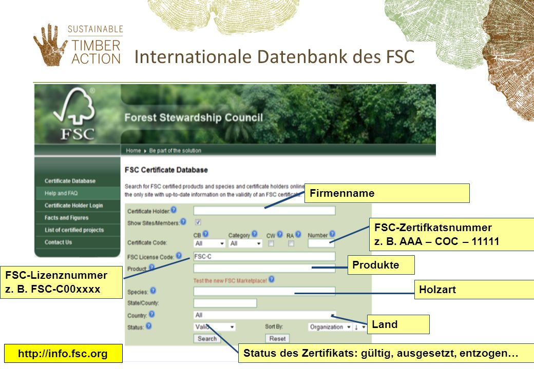 Internationale Datenbank des FSC