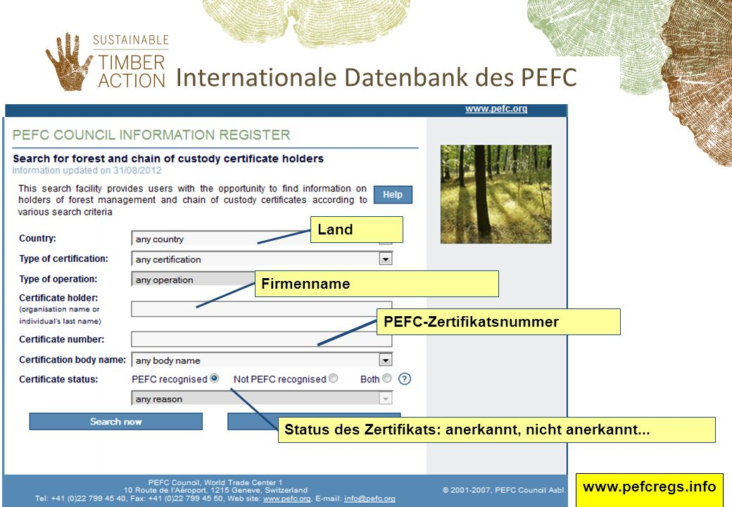 Internationale Datenbank des PEFC