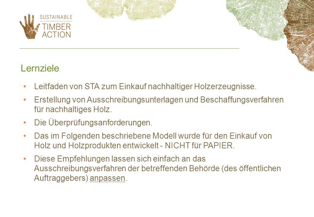 Lernziele Leitfaden von STA zum Einkauf nachhaltiger Holzerzeugnisse.