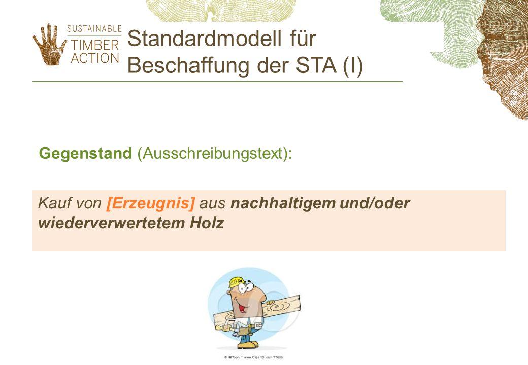 Standardmodell für Beschaffung der STA (I)