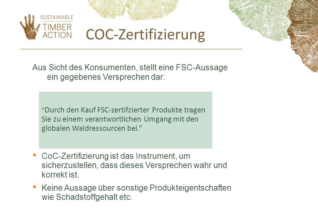 COC-Zertifizierung Aus Sicht des Konsumenten, stellt eine FSC-Aussage ein gegebenes Versprechen dar:
