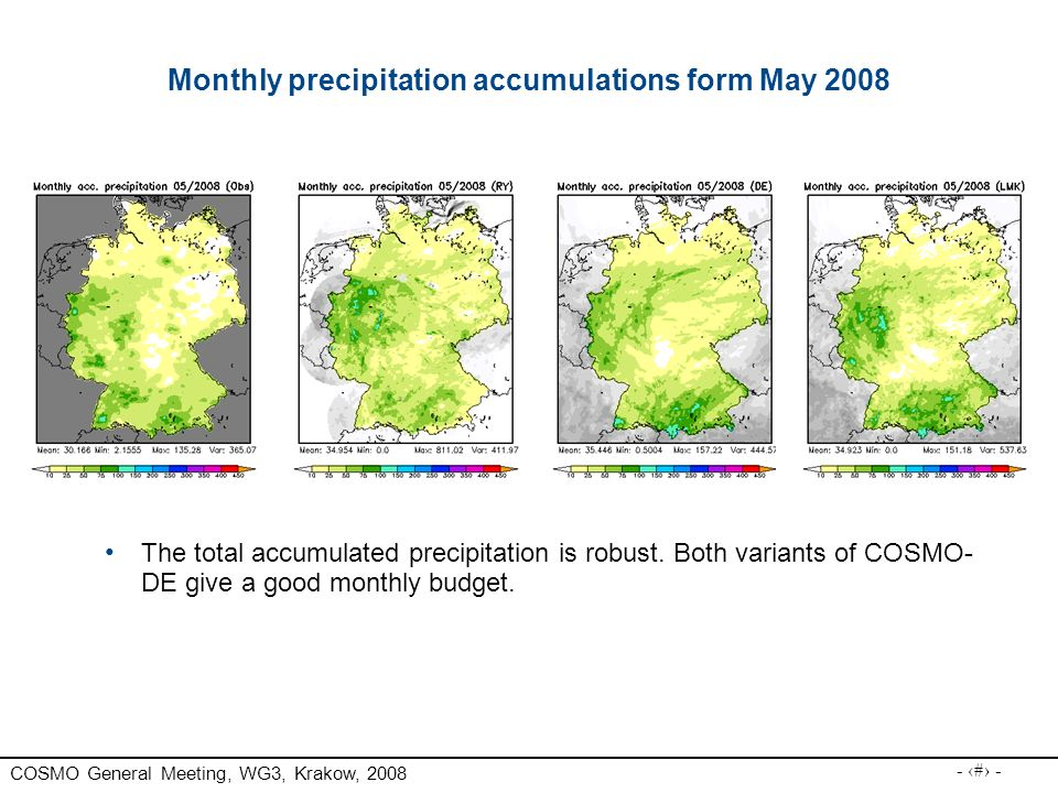 Monthly precipitation accumulations form May 2008
