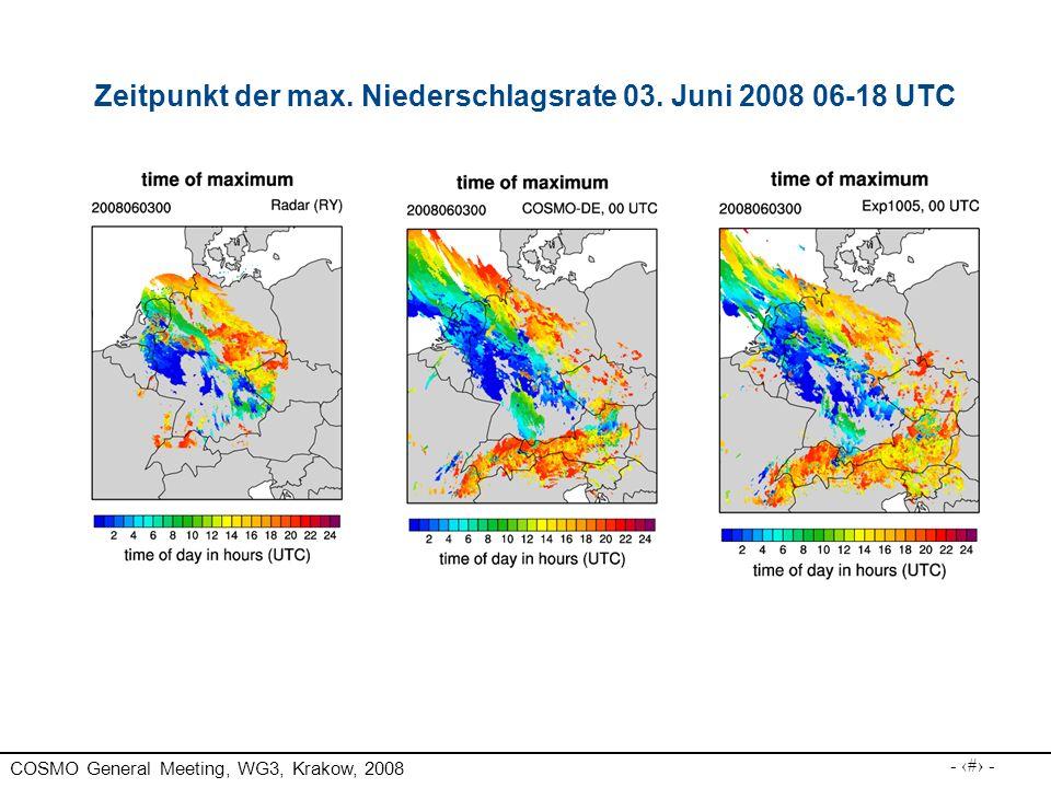 Zeitpunkt der max. Niederschlagsrate 03. Juni 2008 06-18 UTC