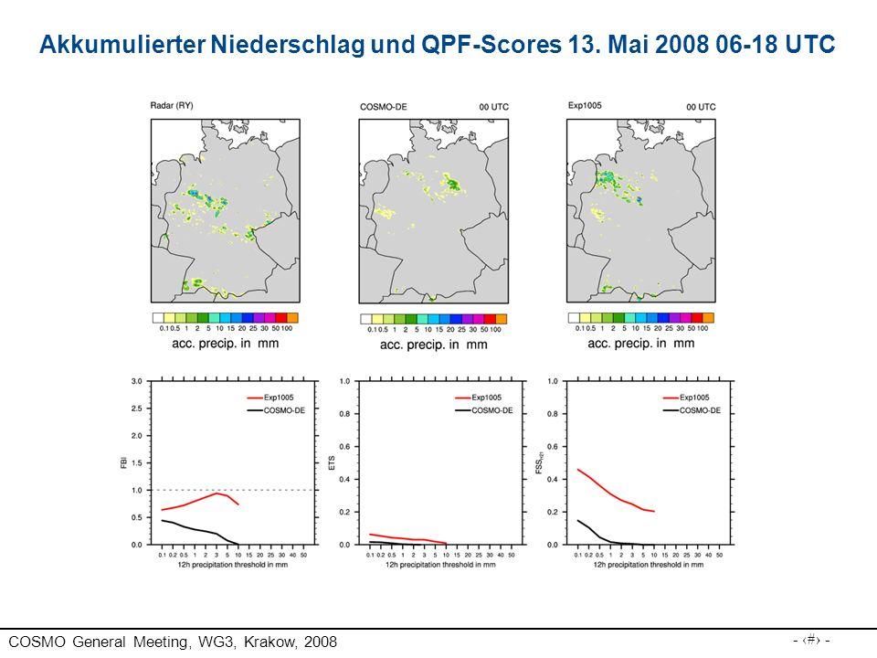 Akkumulierter Niederschlag und QPF-Scores 13. Mai 2008 06-18 UTC