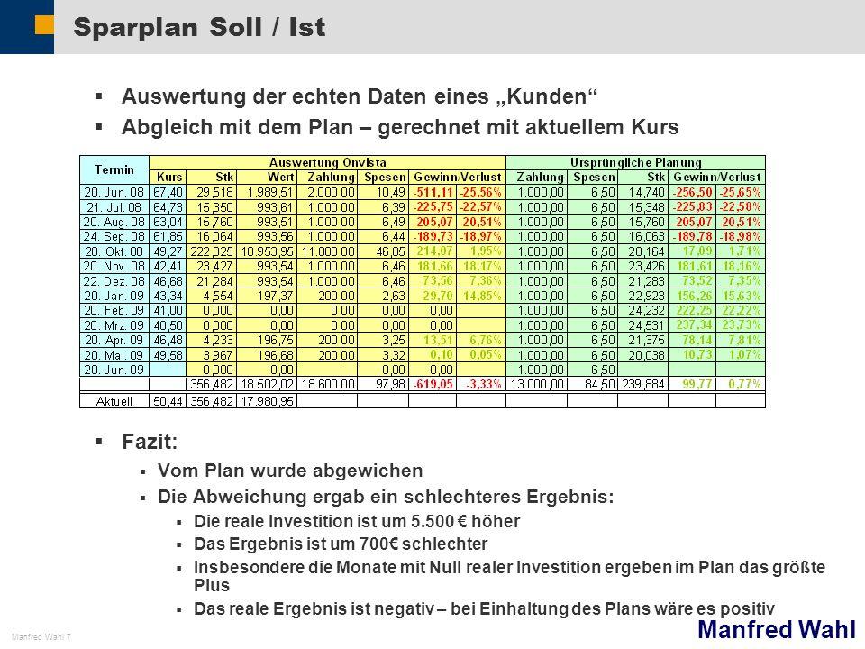 """Sparplan Soll / Ist Auswertung der echten Daten eines """"Kunden"""