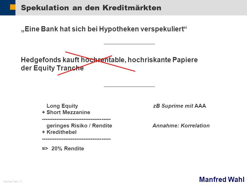 Spekulation an den Kreditmärkten