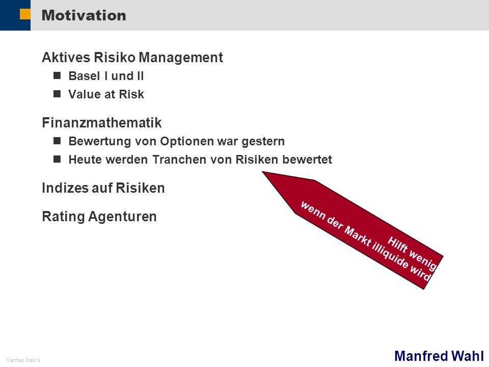 Motivation Aktives Risiko Management Finanzmathematik