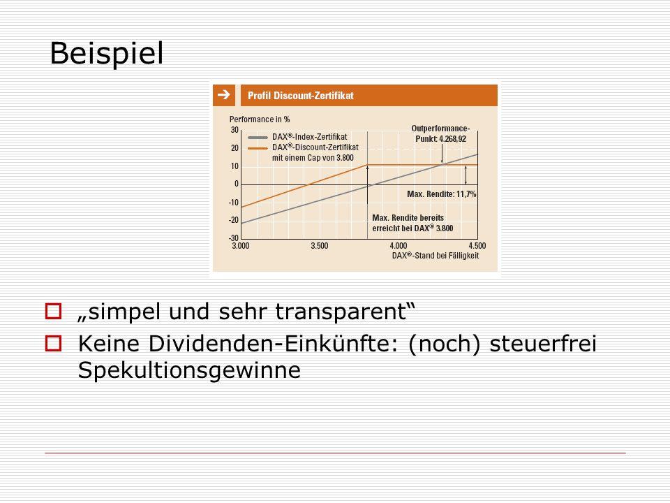 """Beispiel """"simpel und sehr transparent"""