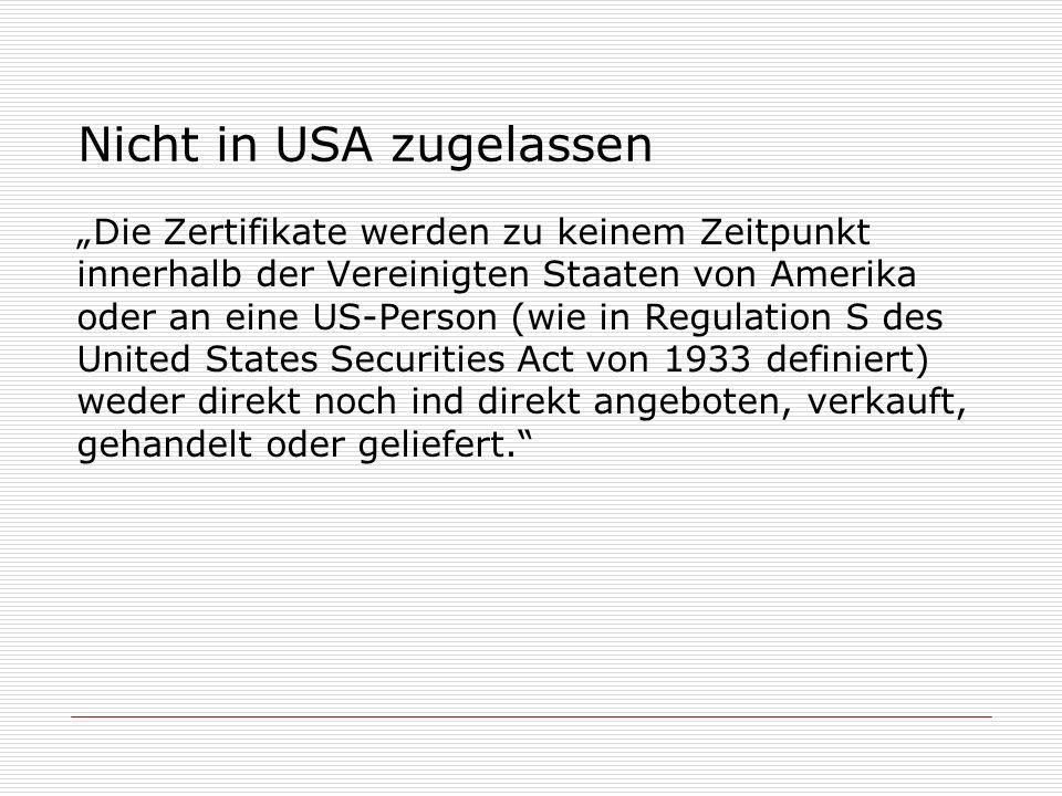 Nicht in USA zugelassen