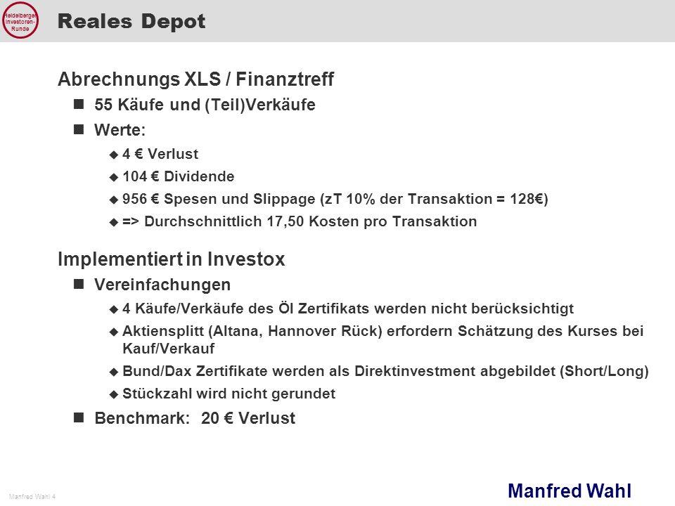 Reales Depot Abrechnungs XLS / Finanztreff Implementiert in Investox