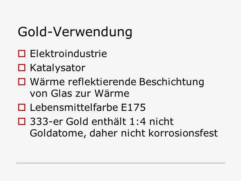 Gold-Verwendung Elektroindustrie Katalysator