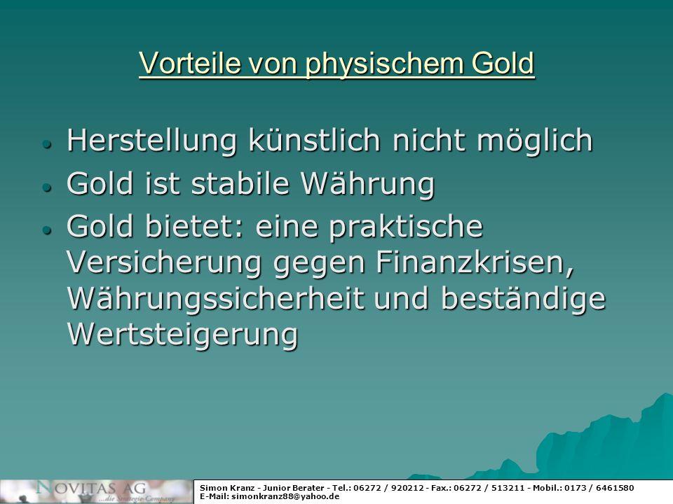 Vorteile von physischem Gold