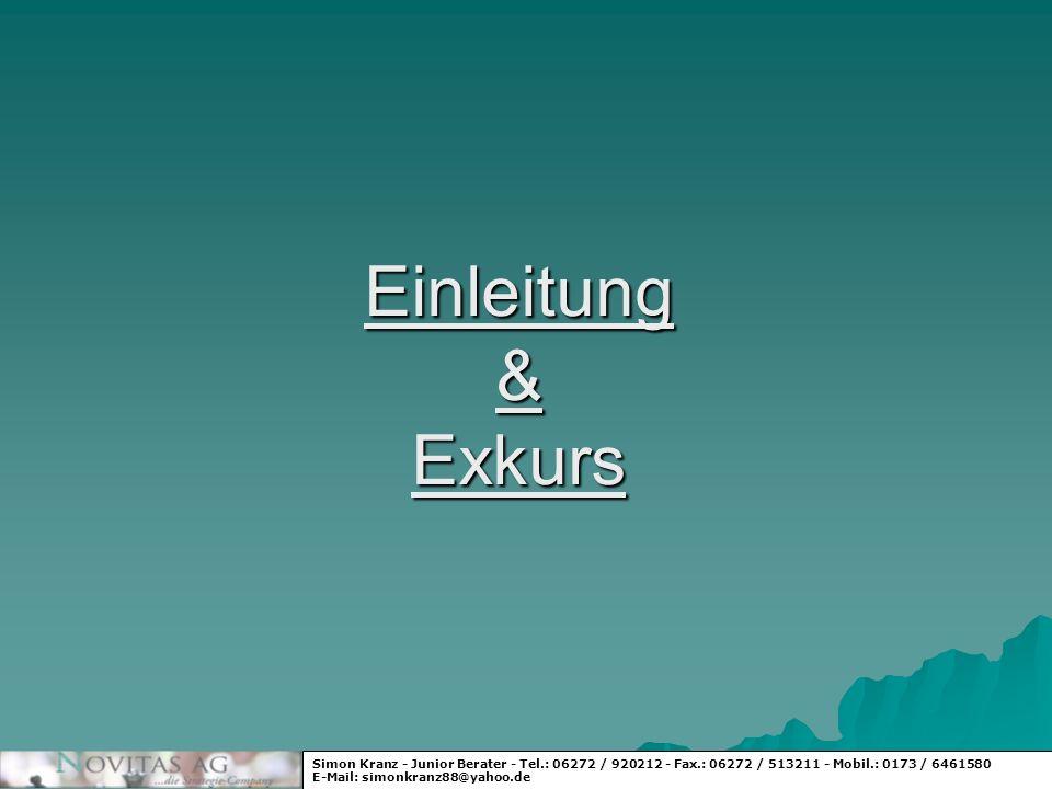 Einleitung & ExkursSimon Kranz - Junior Berater - Tel.: 06272 / 920212 - Fax.: 06272 / 513211 - Mobil.: 0173 / 6461580.