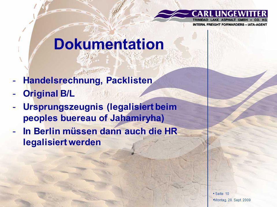 Dokumentation Handelsrechnung, Packlisten Original B/L