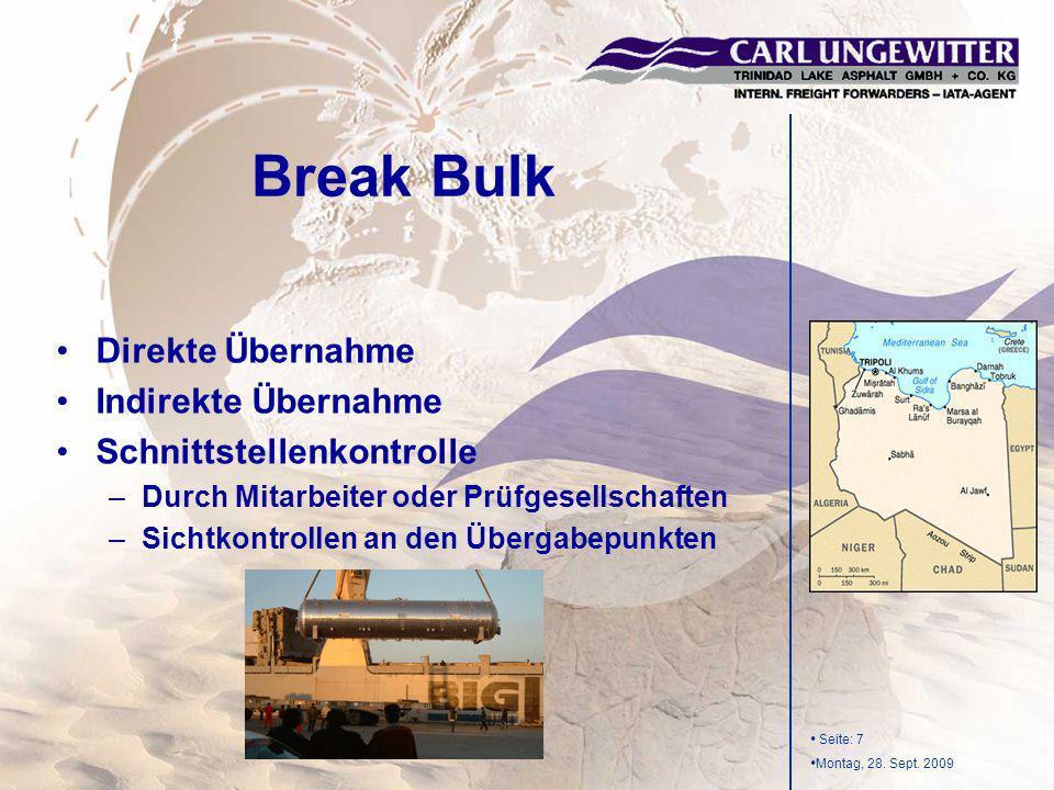 Break Bulk Direkte Übernahme Indirekte Übernahme