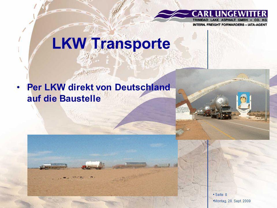 LKW Transporte Per LKW direkt von Deutschland auf die Baustelle