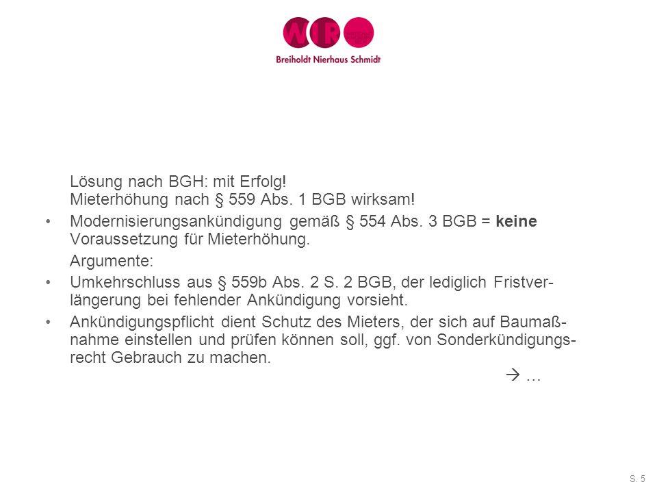 Lösung nach BGH: mit Erfolg! Mieterhöhung nach § 559 Abs. 1 BGB wirksam!